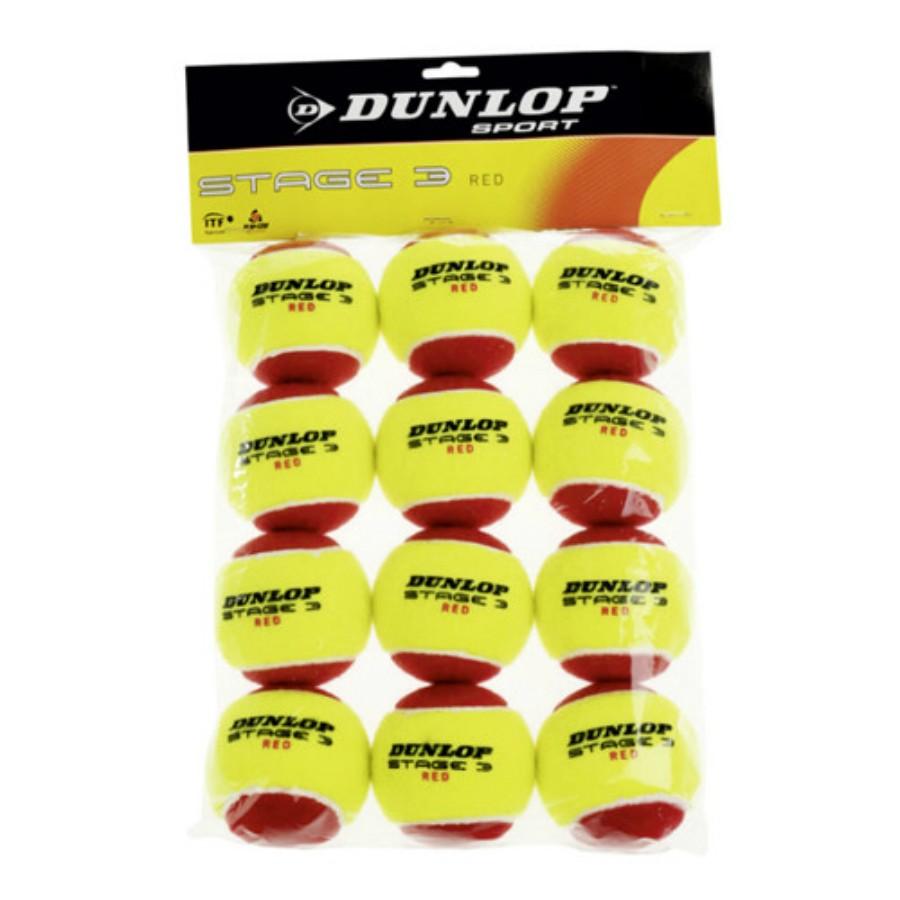 Мячи теннисные Dunlop Stage 3 red (12)